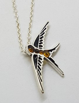 Sterling Silver Natural Baltic Amber Swallow / Bird Pendant on Silver Chain
