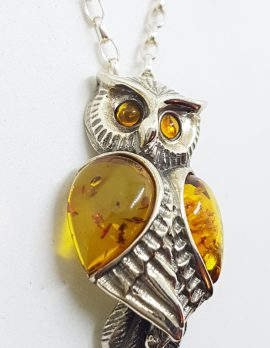 Sterling Silver Natural Baltic Amber Large Owl Bird Pendant on Silver Chain