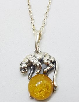 Sterling Silver Amber Puma on Ball Pendant on Silver Chain