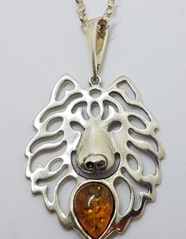 Sterling Silver Amber Wolf Pendant on Silver Chain