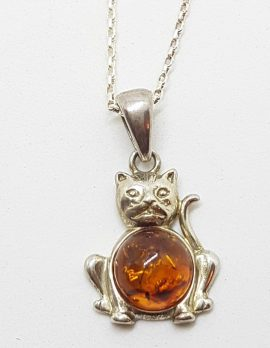 Sterling Silver Brown Amber Cat Pendant on Silver Chain