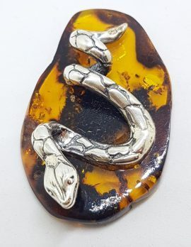 Snake / Reptile - Solid Sterling Silver Natural Baltic Amber Small Figurine / Statue / Sculpture