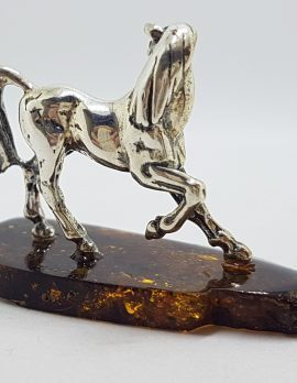 Horse / Equestrian - Solid Sterling Silver Natural Baltic Amber Small Figurine / Statue / Sculpture