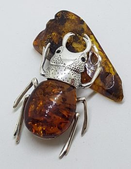 Large Beetle / Stag Beetle - Solid Sterling Silver Natural Baltic Amber Figurine / Statue / Sculpture