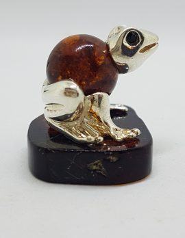 Frog - Solid Sterling Silver Natural Baltic Amber Small Figurine / Statue / Sculpture