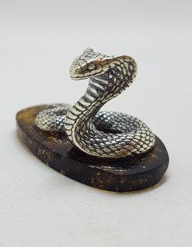 Snake / Cobra / Adder / Reptile - Solid Sterling Silver Natural Baltic Amber Small Figurine / Statue / Sculpture