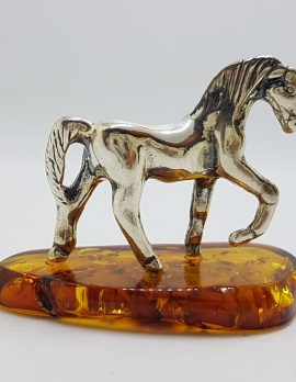 Horse / Equestrian – Solid Sterling Silver Natural Baltic Amber Small Animal Figurine / Statue / Sculpture