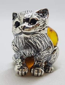 Sitting Cat / Kitten - Sterling Silver Natural Baltic Amber Animal Figurine / Statue / Sculpture