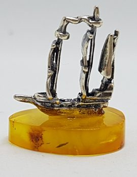 Viking Sailing Ship – Solid Sterling Silver Natural Baltic Butter Amber Small Figurine / Statue / Sculpture