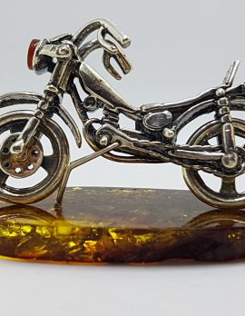 Harley Davidson Motorcycle / Motorbike – Solid Sterling Silver Natural Baltic Amber Small Animal Figurine / Statue / Sculpture