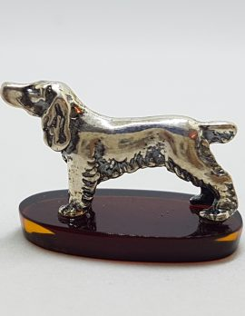 Spaniel Dog - Solid Sterling Silver Natural Baltic Amber Figurine / Statue / Sculpture