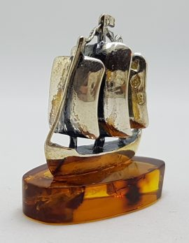 Sailing / Viking Ship / Boat / Yacht – Solid Sterling Silver Natural Baltic Amber Small Figurine / Statue / Sculpture