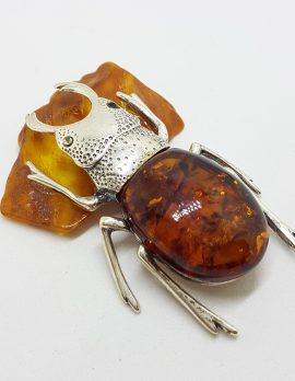 Large Beetle / Stag Beetle – Solid Sterling Silver Natural Baltic Amber Animal Figurine / Statue / Sculpture