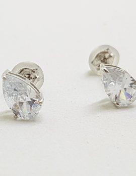 9ct White Gold Teardrop Shape Cubic Zirconia Stud Earrings