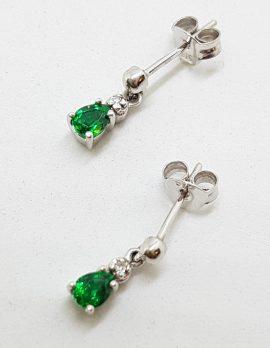 9ct White Gold Teardrop Shape Created Emerald Drop Earrings