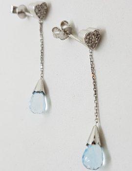 9ct White Gold Teardrop Topaz with Diamond Heart Long Drop Earrings