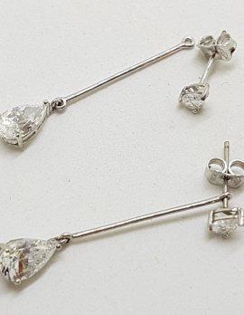 9ct White Gold Teardrop Shape Cubic Zirconia Long Drop with Stud Earrings - 2 in 1