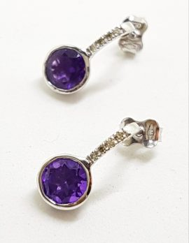 9ct White Gold Round Amethyst and Diamond Stud Drop Earrings