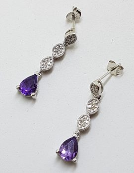 9ct White Gold Amethyst and Diamond Long Drop Earrings