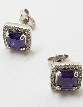 9ct White Gold Amethyst and Diamond Square Stud Earrings