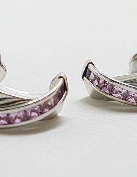 9ct White Gold Pink Crossover Stud Earrings