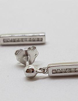 9ct White Gold Chanel Set Diamond Line Drop Earrings