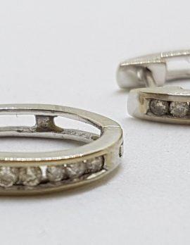 9ct White Gold Chanel Set Diamond Huggie Hoop Earrings