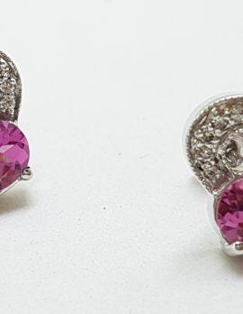 14ct White Gold Pink Tourmaline and Diamond Heart Stud Earrings