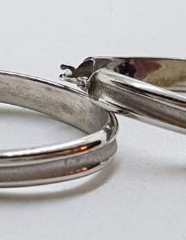 10ct White Gold Large Oval Hoop Earrings