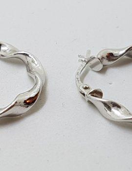 9ct White Gold Twist Hoop Earrings