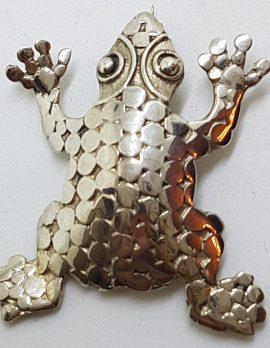 Sterling Silver Patterned Frog Brooch