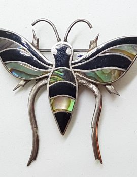 Sterling Silver Large Black & Paua Shell Butterfly Brooch
