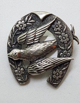 Sterling Silver Swallow / Blue Bird in Ornate Horseshoe Brooch