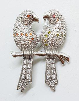 Sterling Silver Large 2 Parrots / Bird Cubic Zirconia Brooch