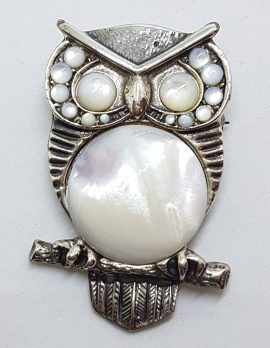 Sterling Silver Very Large Mother of Pearl Owl Bird Brooch
