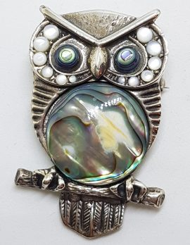 Sterling Silver Very Large Mother of Pear & Paua Shelll Owl Bird Brooch