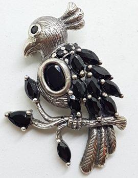 Sterling Silver Black Stone Bird on a Branch Brooch