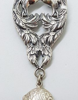Sterling Silver Large Ornate 2 Peacock Birds Brooch with Locket Charm