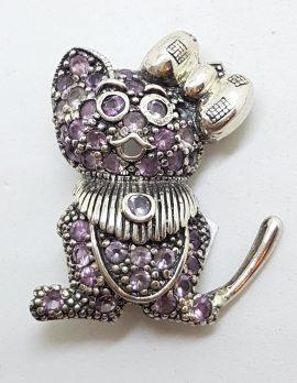 Sterling Silver Amethyst Cute Cat / Mouse Brooch