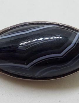 Sterling Silver Oval Black Agate Brooch