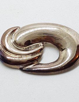 Sterling Silver Large Oval Swirl Brooch