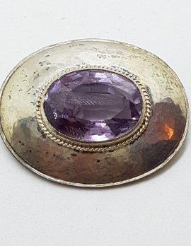 Sterling Silver Oval Amethyst Brooch