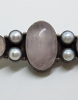 Sterling Silver Rose Quartz and Pearl Large & Long Bar Brooch