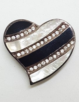 Sterling Silver Large Mother of Pearl, Black and Cubic Zirconia Heart Brooch