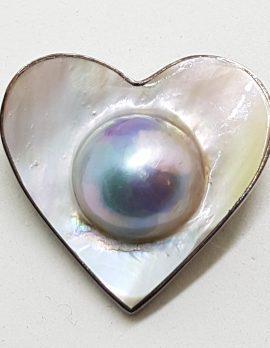 Sterling Silver Medium Mabe Pearl Heart Brooch / Pendant
