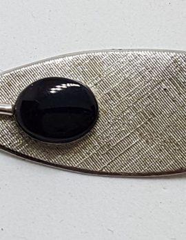 Sterling Silver Onyx Leaf Brooch