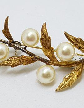 Sterling Silver & Gold Plated Pearl Large Ornate Leaf Motif Brooch - Vintage
