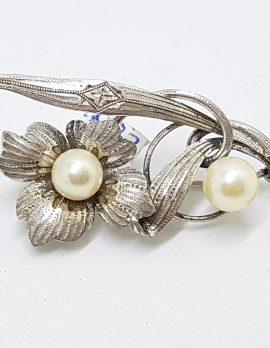 Sterling Silver Pearl Ornate Floral Brooch - Vintage