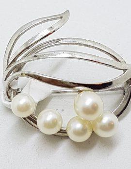 Sterling Silver Pearl Ornate Swirl Cluster Brooch - Vintage