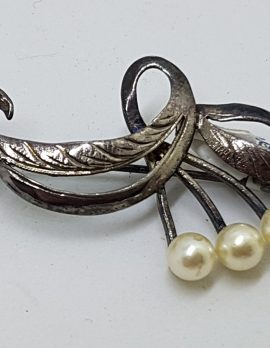 Sterling Silver Pearl Ornate Bar Brooch - Vintage